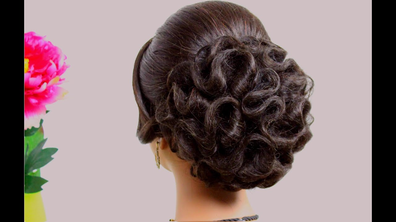 Bridal hairstyle for long hair tutorial. Wedding updo step ...