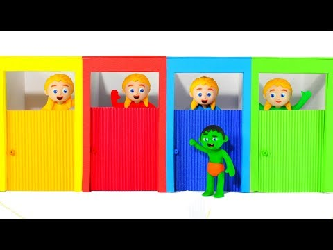 FUNNY KIDS & THE COLOR DOORS ❤ Play Doh Cartoons For Kids