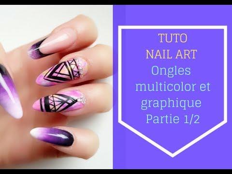💅 TUTO NAIL ART💅  Nail art graphique et multicolore sur pose gel UV forme amande moderne