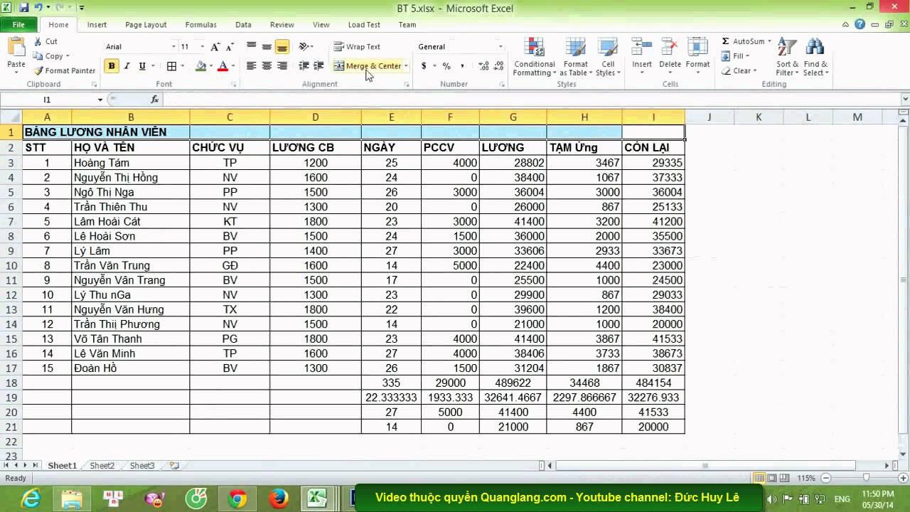 Cách tạo bảng trong Excel 2007, 2010, 2013