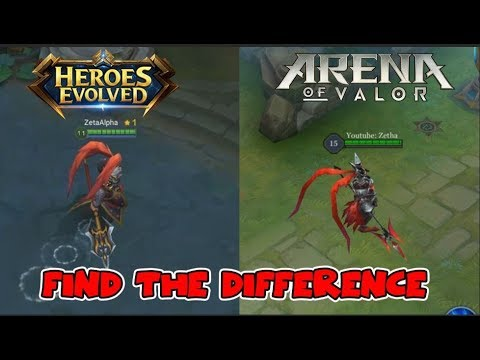 HEROES IN HEROES EVOLVED VS ARENA OF VALOR | SIMILARITIES AND DIFFERENCES | WHICH ONE IS BETTER