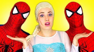 Spiderman vs Spiderman with Frozen Elsa and Superman! Fun Superhero Movie in Real Life :)