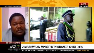 Reaction to the death of Zimbabwe's Agriculture Minister Perrance Shiri: Tichaona Zindoga