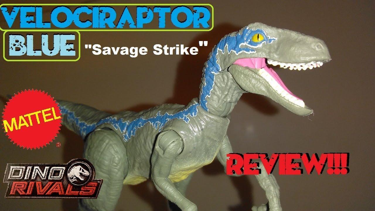 Jurassic World DINO RIVALS Savage Strike Velociraptor Blue w// Forward Leap!