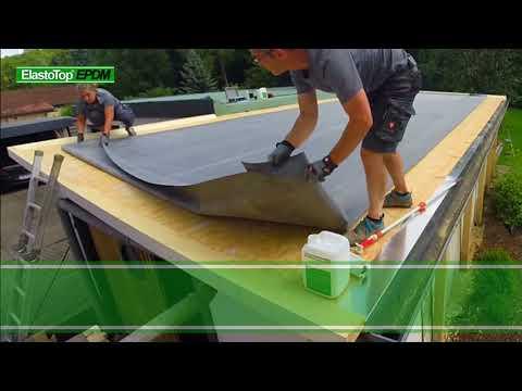 Verlegung EPDM Dachfolie Dachbahn Und Allen Details Wie Ecken Naht Entwasserung