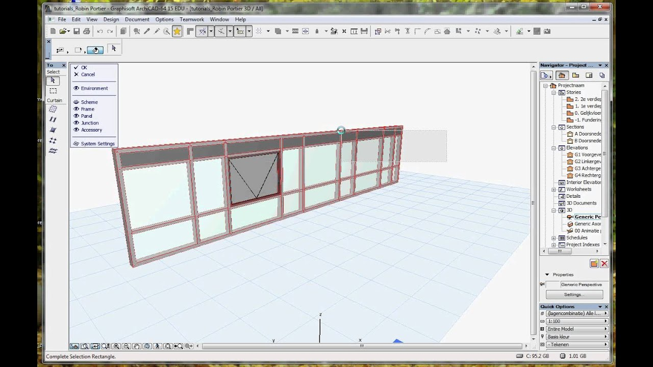 ArchiCAD 15 tutorial_placing windows and doors in curtain walls  (RPortierProductions) avi