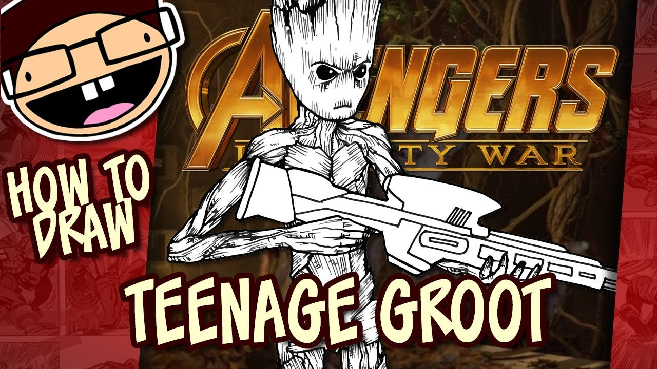 How To Draw Teenage Groot Avengers Infinity War Narrated Easy
