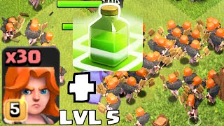 Clash of clans - VALKYRIE LVL 5 W/ JUMP SPELLS Vs. TH11  (New Update Changes and Level)