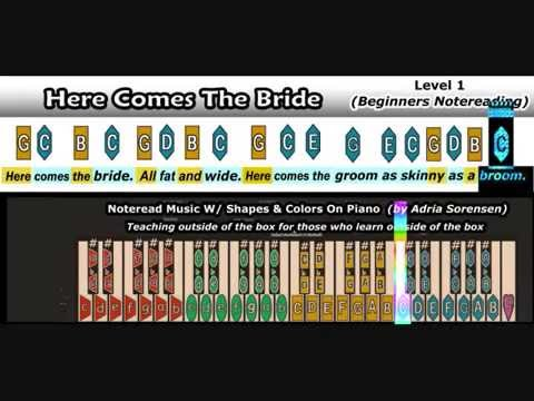Noteread Here Comes The Bride W Shapes Colors On Piano Youtube