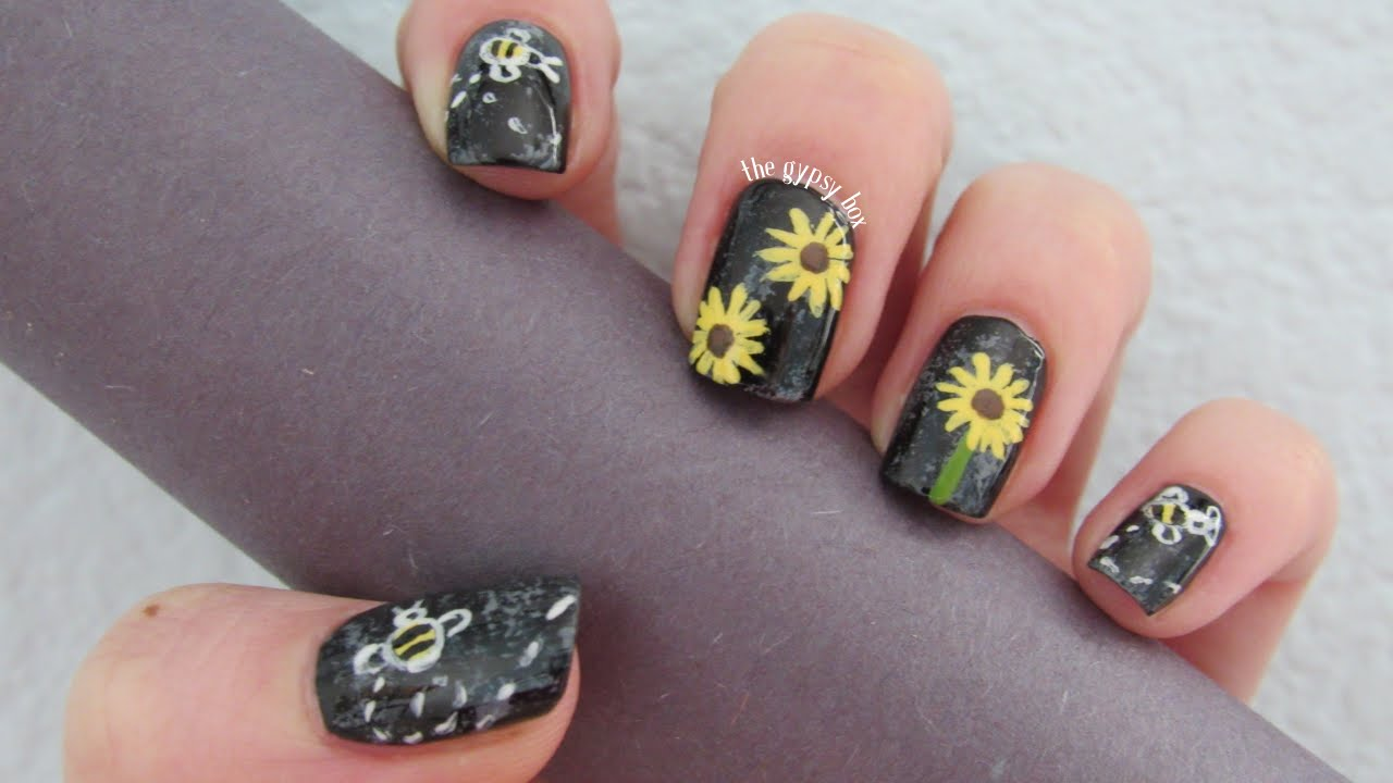 Sunflower Bumblebees Nail Art Design Thegypsybox Youtube