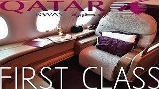 Qatar Airways FIRST CLASS Doha to Paris|A380 (+Al Safwa Lounge)