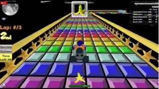 Mario Kart ROBLOX- epicmariomario99:SNES Rainbow Road 1ère place