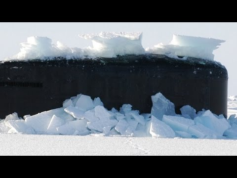 U.S. Navy nuclear attack submarine BREAKS THROUGH THICK POLAR ICE! (Amazing footage!)