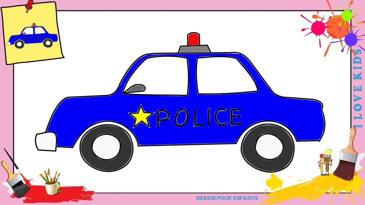 dessin voiture de police comment dessiner une voiture de police facilement pour enfants youtube. Black Bedroom Furniture Sets. Home Design Ideas
