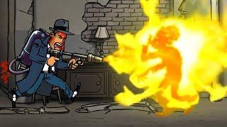 Пулемет ОГНЕМЕТ и армия Зомби в огромном городе прохождение мультик игры Guns Gore & Cannoli