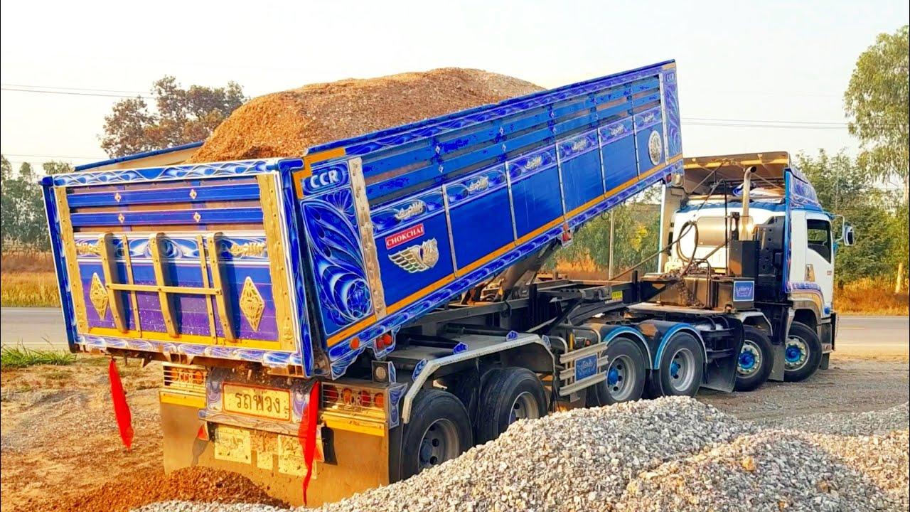 Isuzu GXZ 360 12ล้อ พิกัด50ตัน ดั้มหินคลุกสดๆจากโรงโม่หินDump trucks
