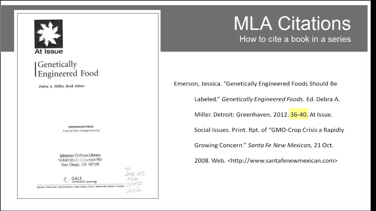 i heart library mla citations book in a series