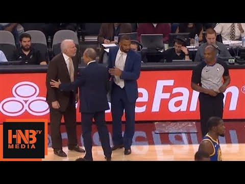 Gregg Popovich Ejected For Two Technical Fouls / GSW vs Spurs