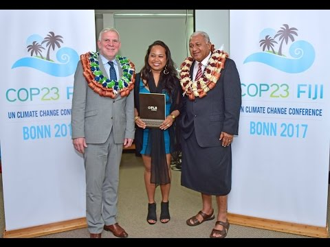 Fijian Prime Minister announces and unveils the new Fiji's COP 23 logo.