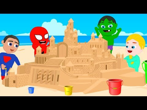 SUPERHERO BABIES MAKE A GIANT SAND CASTLE ❤ Spiderman, Hulk & Frozen Play Doh Cartoons For Kids