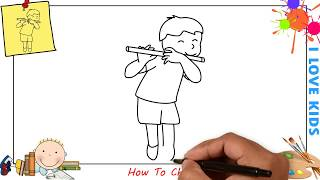 How to draw a boy playing flute EASY step by step for kids, beginners, children 1