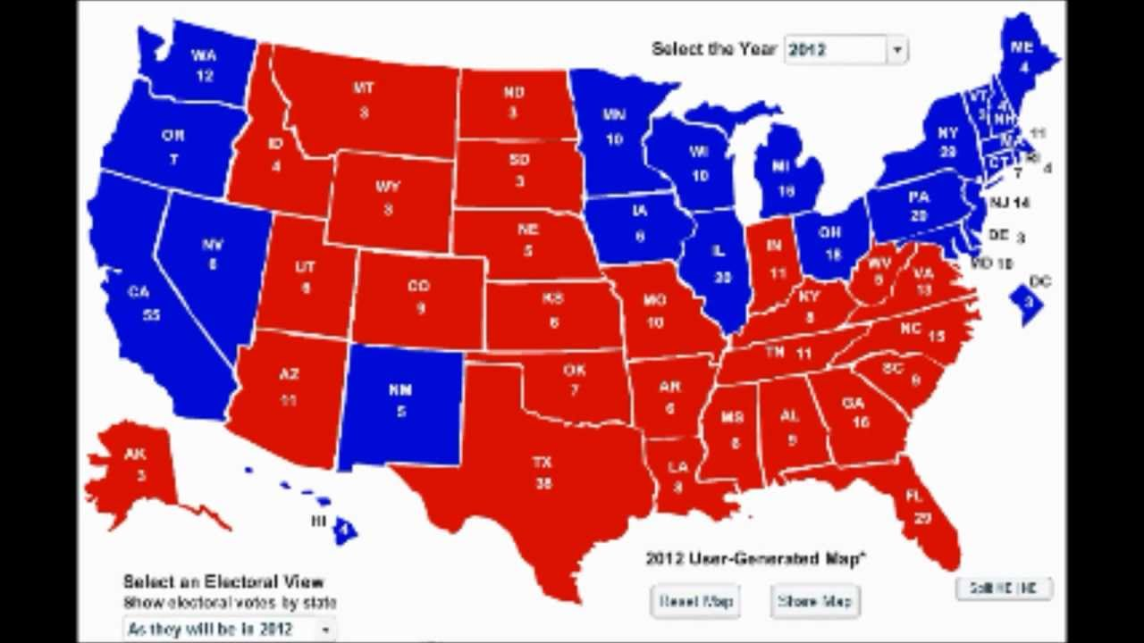 My Election Prediction State By State Results Obama - Us presidential election red blue map