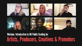 RA Webinar: Introduction to UK Public Funding for Artists, Producers, Creatives \u0026 Promoters