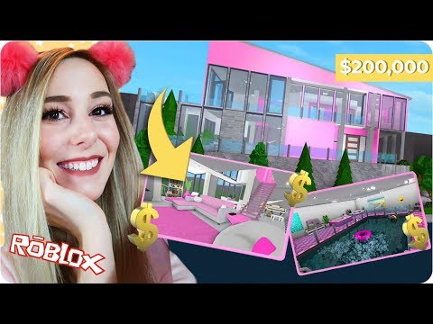 Building A Huge Pink Mansion In Roblox 200 000 Bloxburg Mansion
