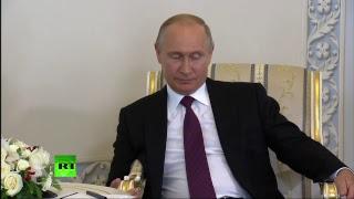 Владимир Путин беседует с главой МВФ Кристин Лагард на полях ПМЭФ