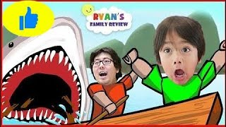 ROBLOX Shark Bite! Let's Play with Ryan's Family Review! IRL New Ep 335