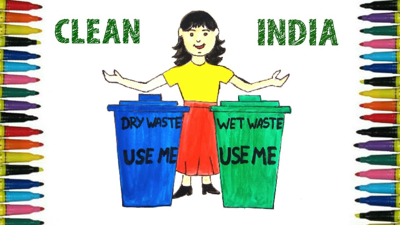 how to draw swachchh bharat poster clean india poster for kids