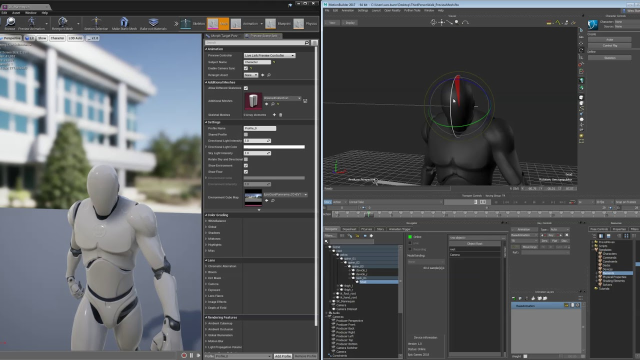 Connecting UE4 to Motionbuilder with Live Link | Unreal Engine