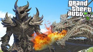 GTA 5 SKYRIM Mod - Dragon Fight, Magic & More!  (GTA 5 Mods)