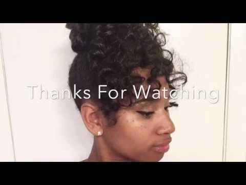 Curly Bun with Bangs | Using Kanekalon Hair