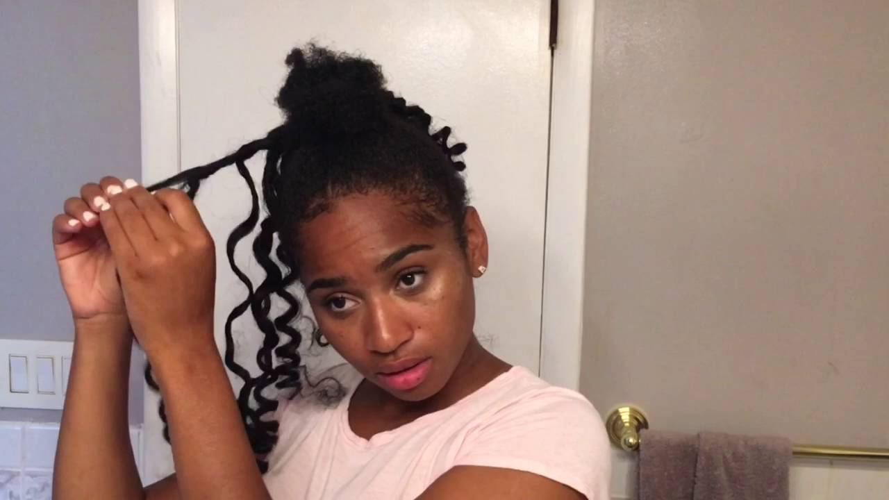 Curly Bun with Bangs   Using Kanekalon Hair - YouTube