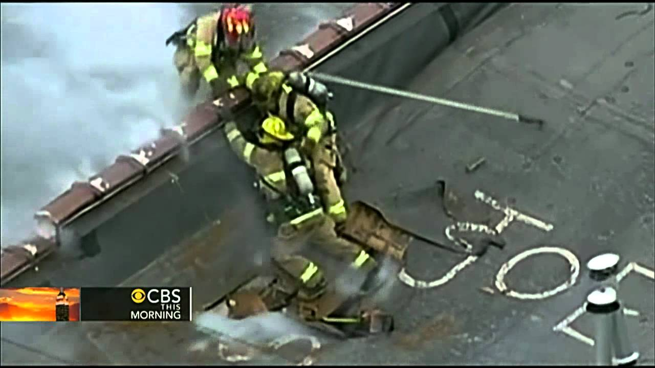 Roof Collapse Close Call For Firefighters Youtube