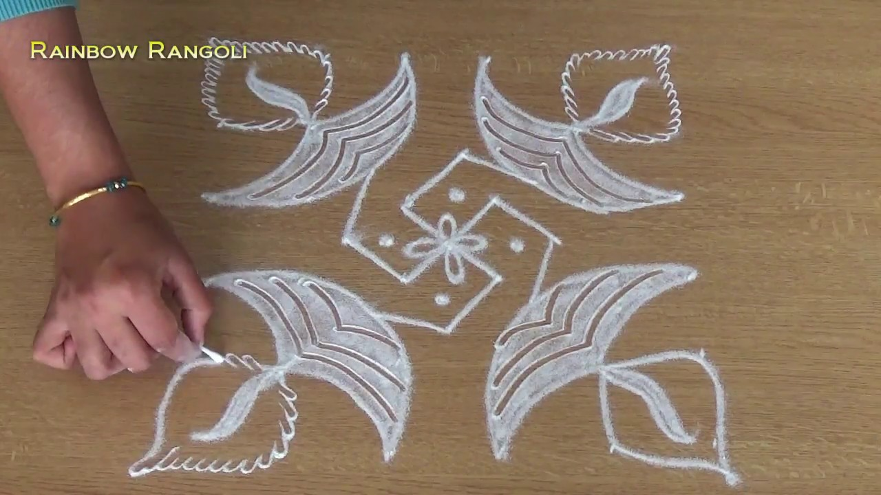 simple and easy rangoli designs with 6 dots daily