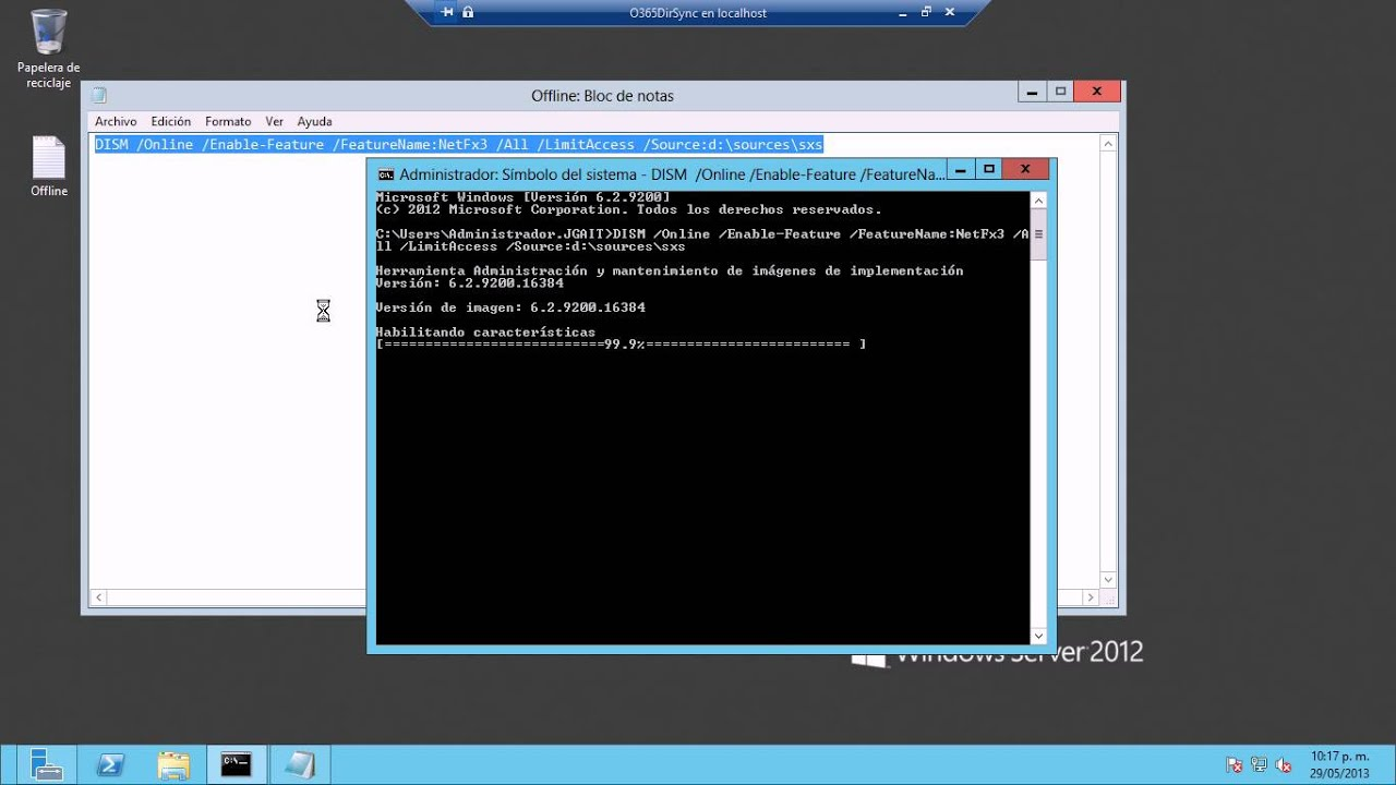 Windows Server 2012 - Instalar  NET Framework 3.5 Offline