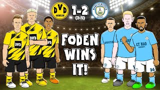 🟡Dortmund vs Man City🔵 The cartoon! (1-2 Champions League Goals Highlights 2021 Foden)