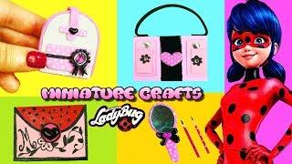 5 Minutes Miniature Miraculous Ladybug Crafts - Book Bag, Notebook, Pencils, Mirror, Bag / Briefcase