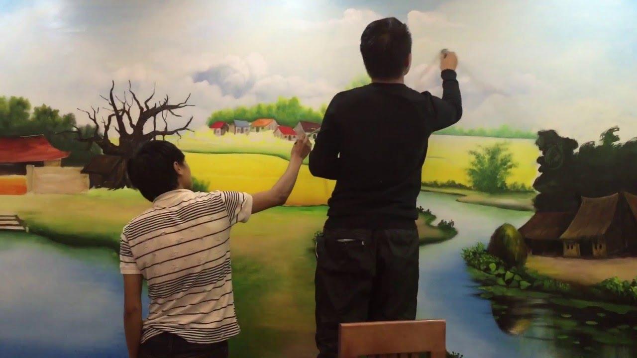 Vẽ tranh tường phong cảnh 3d đồng quê tại Hà Nội lh – Phạm Thái 0908766656