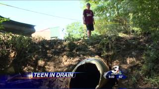 Teen rescued from storm drain shares his story