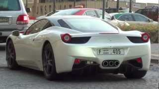white Ferrari 458 Italia - JBR The Walk Dubai Marina