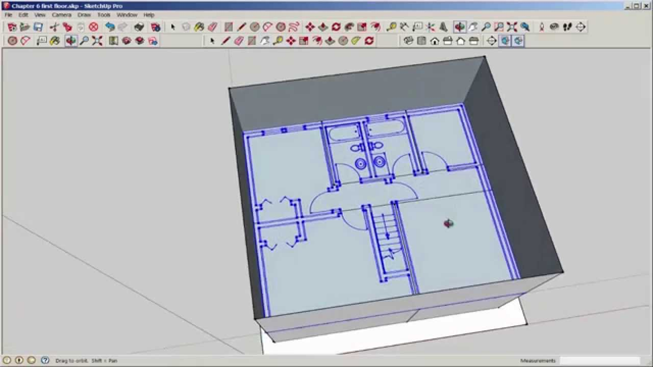 Sketchup two story interior part 2 autocad import youtube for Sketchup import