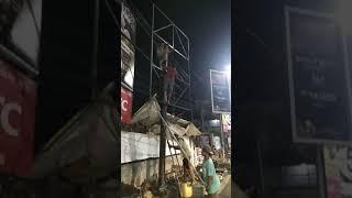 Proses bembangunan konstruksi billboard ukuran 3m X 4m X 1 sisi.