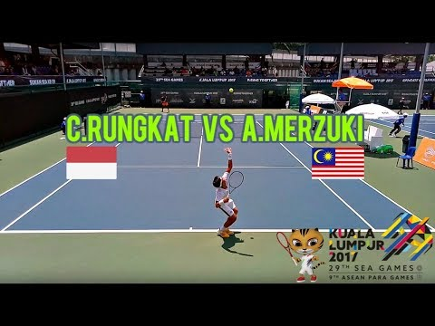 C.Rungkat (INA) vs A.Merzuki (MAS) Round of 16 Tennis Highlights | 29th KL Sea Games 2017