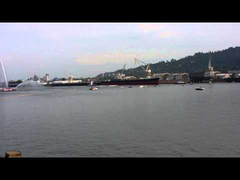 Ship launching into the Willamette river