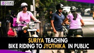 Surya Teaching Jyothika About Bullet Bike Riding In Public