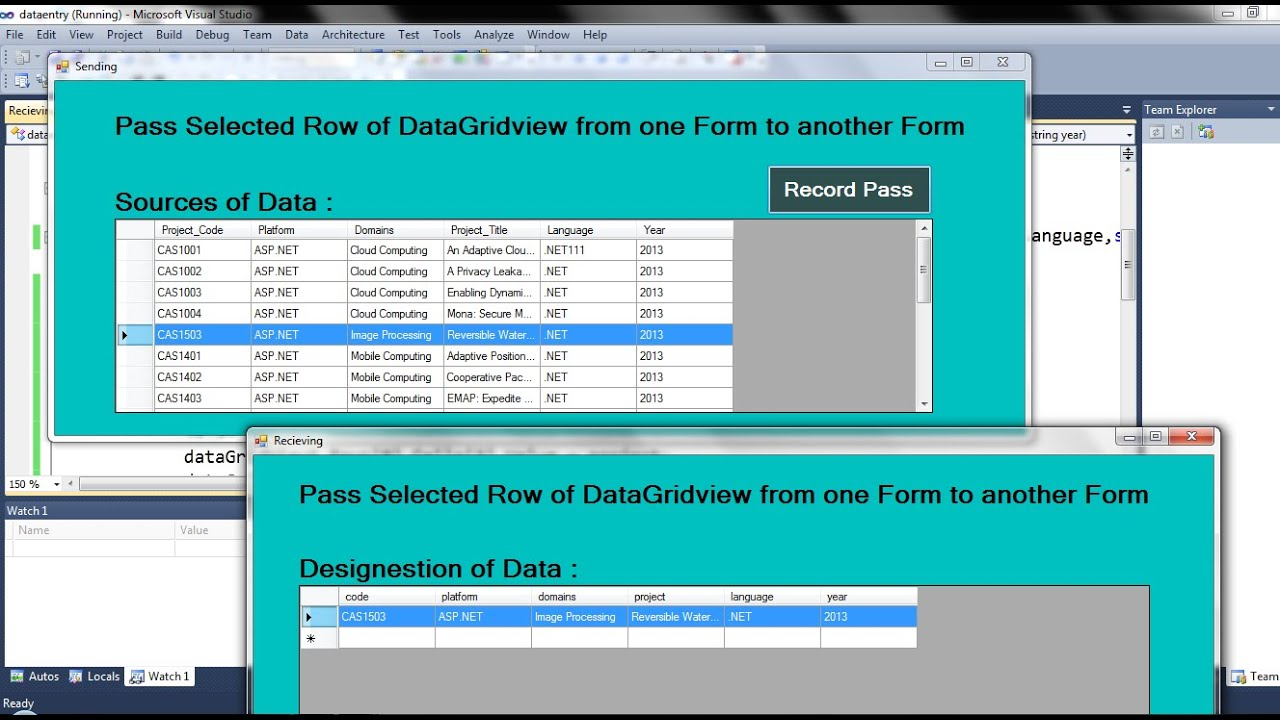 C# Pass Records Selected Row from one Form to another Form ...