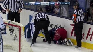 Foligno takes worst of crash into boards with Komarov